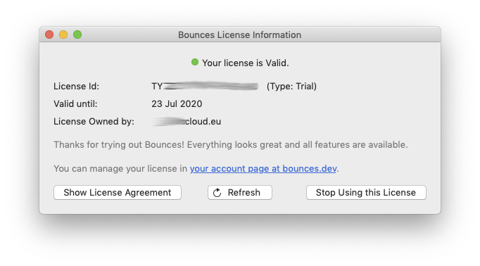 Bounces License Information window