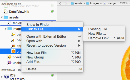 Source Files Contextual Menu