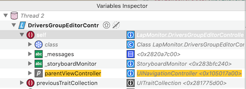 Displayed native property in the variable inspector