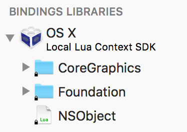 SDK Bindings Library for Local Lua Contexts show available frameworks