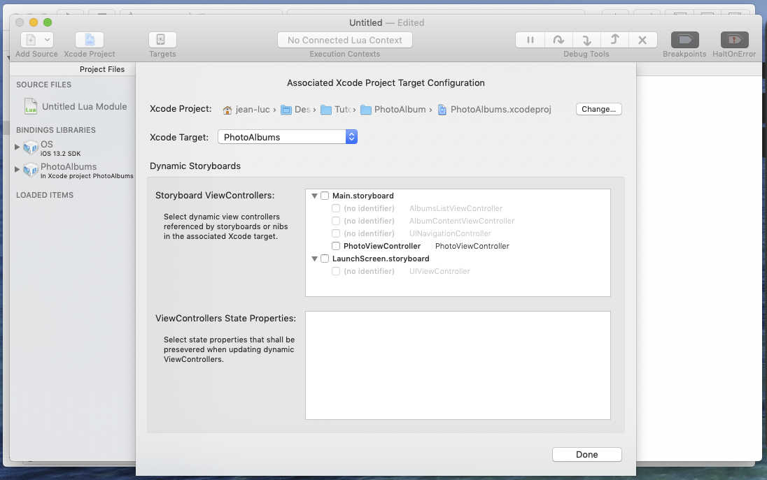 Bounces associated Xcode project configuration